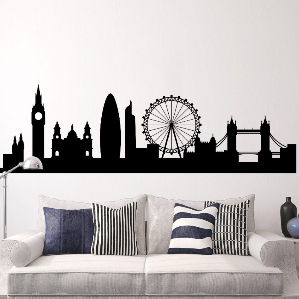 London cityscape skyline wall decal mural for Cityscape mural