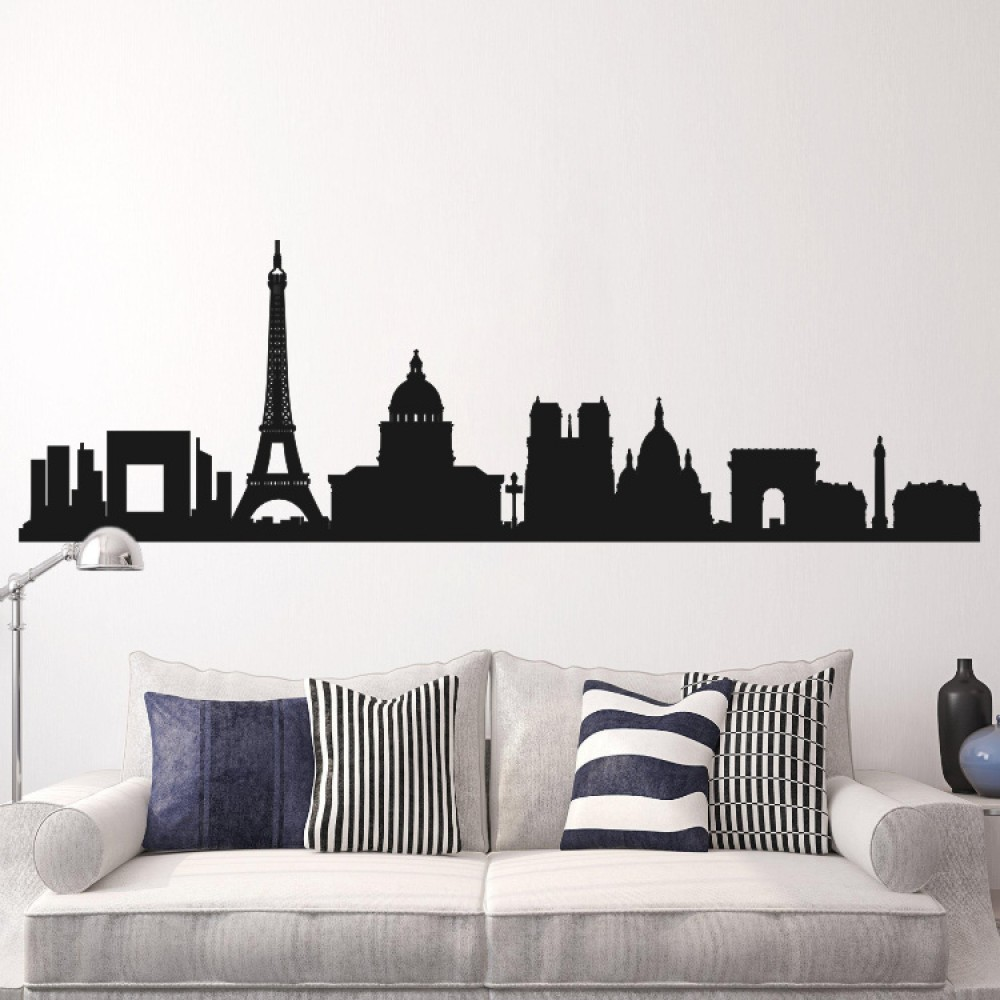Paris France Cityscape Skyline Wall Decal City Mural - Wall decals city