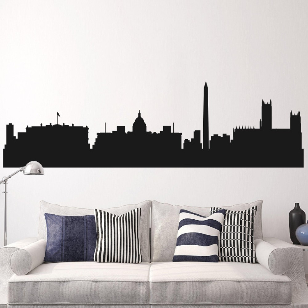 Removable wall sticker city silhouette buildings art decals mural washington cityscape skyline wall decal city mural wall decals city amipublicfo Gallery