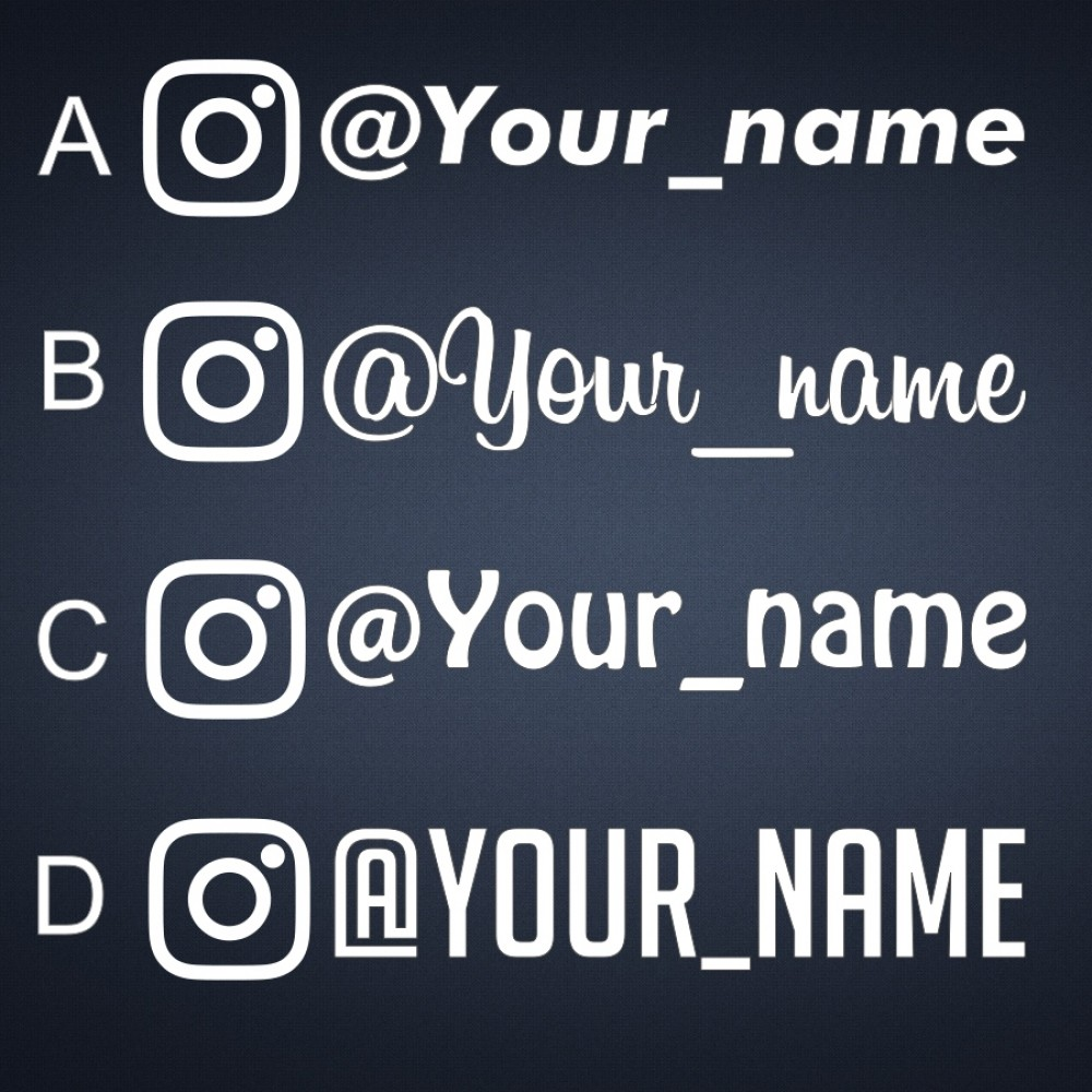 4x custom plain instagram username decals