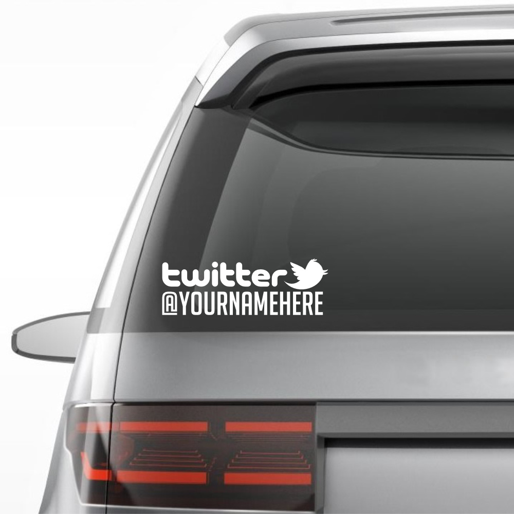TWITTER Personalized Vinyl Decal Sticker - Window decals for vehicles personalized