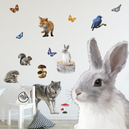 Woodland Animals Adhesive Fabric Wall Stickers Set
