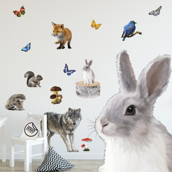 Woodland Animals Adhesive Fabric Wall Stickers Set