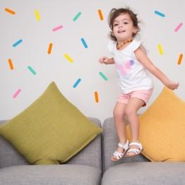 Confetti strips wall decor